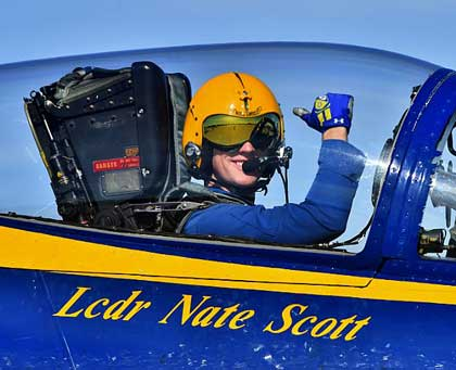 EL CENTRO, Calif. (Jan. 13, 2018) Blue Angels Slot Pilot, Lt. Cmdr. Nate Scott, taxis onto the flight line during a winter training flight at Naval Air Facility El Centro, California. The Blue Angels are scheduled to perform more than 60 demonstrations at more than 30 locations across the U.S. in 2018. (U.S. Navy photo by Mass Communication Specialist 1st Class Ian Cotte